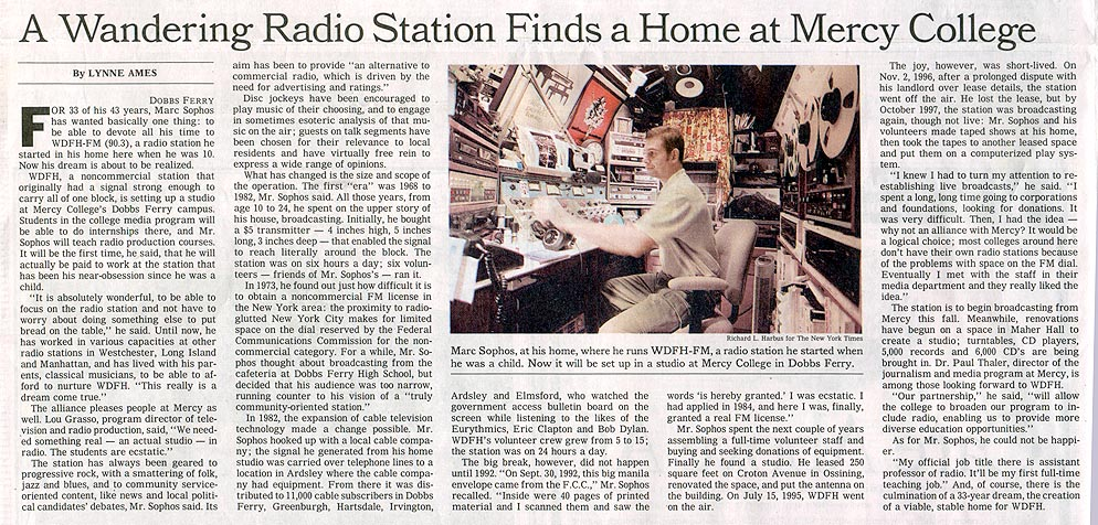 NY Times article on WDFH, July 2001